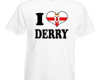 I love heart derry children's kids t shirt