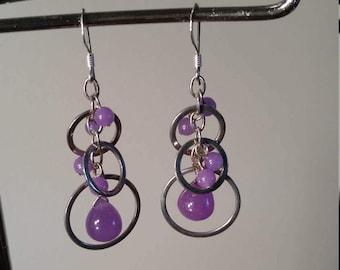Sterling silver purple earrings sterling earrings silver earrings purple earrings silver jewelry purple jewelry vintage silver 925