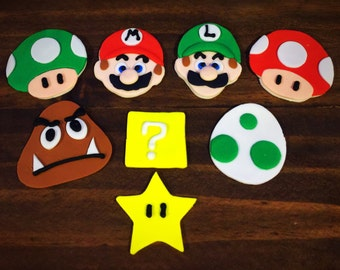 Mario Themed Fondant Cupcake Toppers