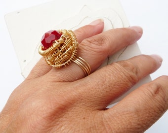 Handmade Wire Wrapped Ring With Red Bead Size 7 Gold Color Non-Tarnish Wire 18 And 22 Guage