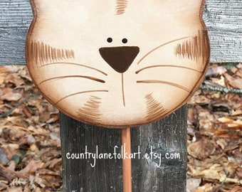 crazy cat lady gift, plant pokes, brown tabby cat, cat lover gift, cat decor, plant sticks, hand painted cat, gift for gardeners, mom gift
