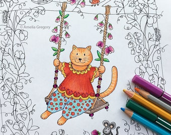 Adult Coloring Pages, Adult Colouring Book, Nursery Decor, Whimsical Art, Sweetpea Swing, Flower Girl Gift, Tree Swing, Nursery Wall Art