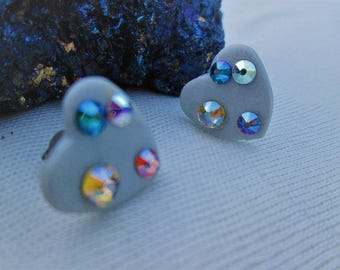 Stud Earrings - innocent-polymer clay and crystals Swarovski, crystals, heart, Stud, gift, polymer clay, lolita, babydoll