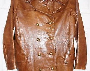 Vintage Wilsons Beverly Hills Brown Leather Double Breasted Pea Coat Jacket S