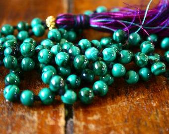 Malachite 108 Mala Beads Knotted Gemstone and Gold Vermeil Buddhist Rosary Hindu Mala Spiritual Jewelry Yoga Necklace Green Gemstone Beaded