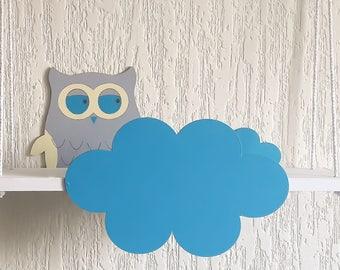 Hanging shelf Owl,Cloud Shelf,Cloud Nursery Decor,Cloud Kids Decor,Bookshelf,Cloud Wall Shelf,Cloud Nursery,Wall decor,Wall hanging cloud