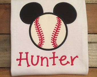 Mickey Mouse shirt, Mickey Mouse applique shirt, Mickey Mouse baseball shirt, Mickey Mouse baseball, SSD-81