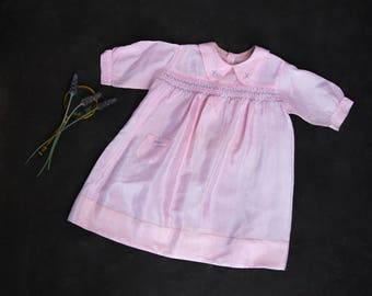 Vintage Girls dress - with smocking and embroidery - size 1-2 years.