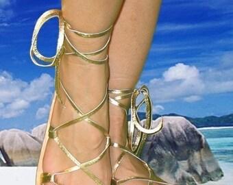 BELLA CARIBE GOLD Metallic on Oak-Tan Lace Up Sandals