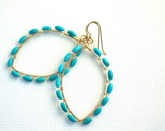 14K GF hand formed marquise, wire-wrapped genuine turquoise earrings- 'sky' earrings