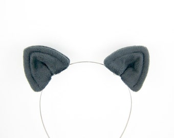 Cat Ears Hair Clips Plush Charcoal Grey Cat Costume Ears