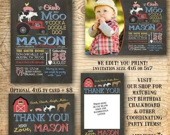 Barnyard birthday invitation - Farm birthday invitation - Farm animal birthday invite - Barnyard party invitation - You print chalkboard