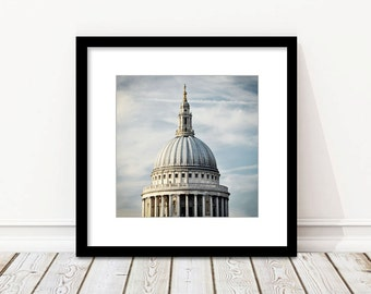 London Photography, St. Paul's Cathedral, Dome, Architecture, Fine Art Print, Travel Photo, Neutral, Home Decor, Wall Art, Square Print