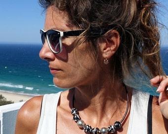 Amber Leather Necklace, Amber Choker, Amber Mosaic, Baltic Amber Jewelry, Choker, Ball Choker Necklace, Baltic Amber