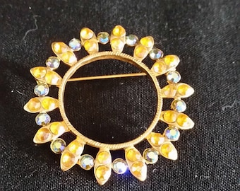 Brooch  Vintage Amber and Blue Stones