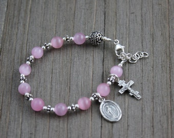 Sterling Silver and Pink Cat's Eye Children's Rosary Bracelet