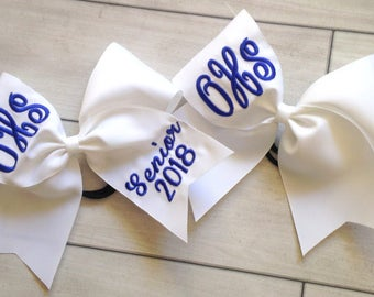 Monogrammed embroidered Senior Cheer Bow