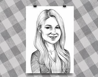 Custom caricature for 1 person, caricature, caricature gift, gift for her, caricature online, original gift, portrait, gift, best idea gift