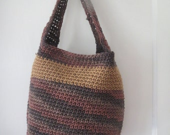 hand crocheted bag in tan and variegated brown all cotton yarns
