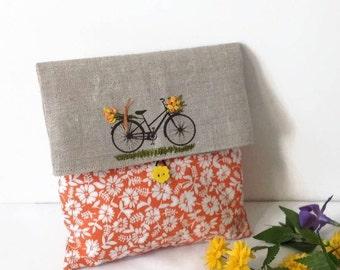 Clutch Bag, Orange foldover Clutch, Cosmetic Bag, Wedding Clutch, Favor Bag, Flower Clutch Bag, Cosmetic  Storage, Make up Bag, gift for her