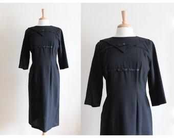 1960s Dress / Vintage Black Double Bow Dress