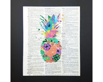 Colorful Pineapple Ananas on Vintage Dictionary Page Art Print, Wall Decor, Digital Manipulation with Sparks of Glitter,