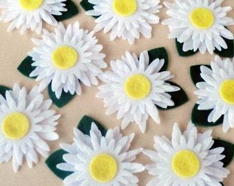 Flores de fieltro, apliques de fieltro, 5 piezas