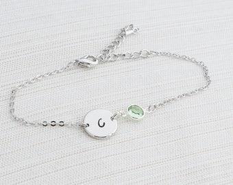 Silver Birthstone & Initial Bracelet, Silver Bracelet, Personalised Disc Bracelet, Initial Bracelet, Stacking Bracelet, Birthstone bracelet