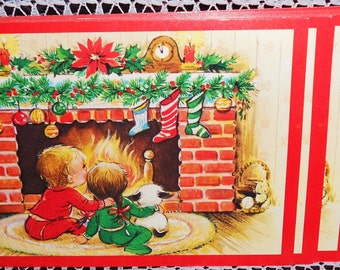 8 Darling Mid-Century Christmas Postcards - Classic Kids Wait for Santa at Fireplace Paper Ephemera Collectibles