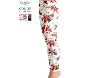 White Floral Leggings | Yoga Clothes | Boho Leggings | Dance Leggings | Pilates Pants | Fall Leggings | Yogawear | Yogagear | Loopy Jayne