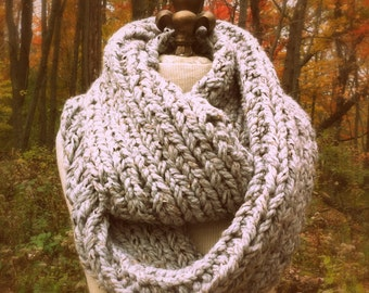 Oversized Super Chunky Infinity Scarf Loop Cowl - Gray Marble - MADE TO ORDER