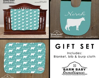 Personalized Dairy Cow Baby Gift Set - blanket, burp cloth and bib - farm nursery, livestock baby shower gift