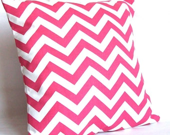 CLEARANCE 18x18 or 20x20 inch Pink Decorative Throw Pillow Cover, Chevron - Sofa Toss Cushion Cover - Candy Pink and White Zig Zag