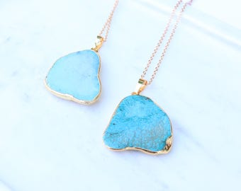 Pendant Necklace Turquoise Statement Boho Chic Jewelry Bohemian Minimalistic Layering Necklace