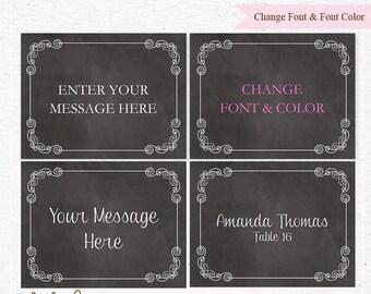 INSTANT DOWNLOAD - Chalkboard EDITABLE Folding and Mini Buffet Card, Food Label - Design C