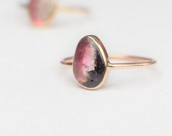 14k Gold Tourmaline Ring, Modern Wedding Ring, Tourmaline engagement ring, Promise ring, Natural Gemstone ring, 14k gold ring