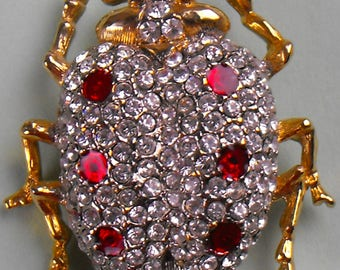 Crystal Covered LadyBug with Red Crystal Spots Brooch