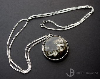 Chain, porcelain, glazed/brown piece, 76 cm silver 925/version antique silver decorated with owls
