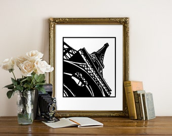 Eiffel Tower Giclee Print - Paris, France - Woodcut Style - French Art, Parisian Art, Eiffel Tower, Paris Print, Black and White