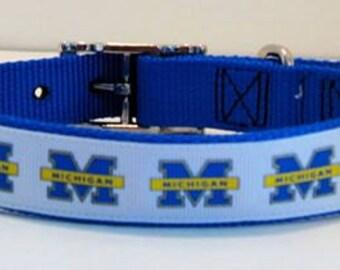 University of Michigan Ribbon Collar - Large Dog Collar - Wolverines Dog Collar - College Dog Collar