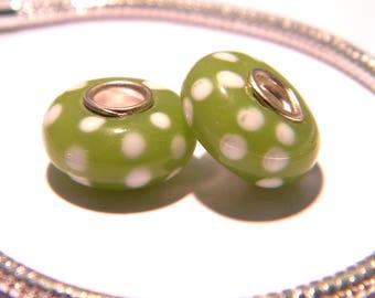 bead charm European - lampwork glass - murano-stainless steel - 14 x 8 mm - 1 F203 core