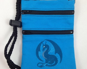 Convention necessity! Embroidered dragon lanyard/bag with adjustable cordlock