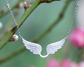 Angel Wing Necklace - Silver Angel Wing Necklace - Sterling Angel Wing Necklace - Cubic Zirconia necklace - CZ necklace
