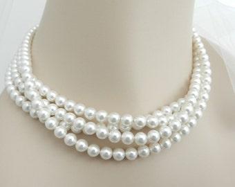 Multi Strand Pearl Necklace Swarovski Pearl Choker Necklace Bridal Pearl Jewelry