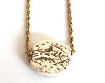 Hand Carved Ceramic Fish Bead Pendant Necklace