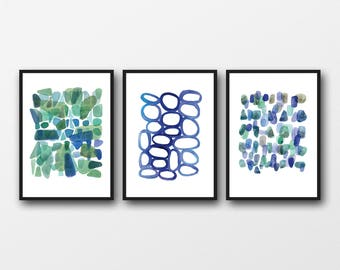 Wall Art Set of 3 Prints, Watercolor Paintings set Blue Green Watercolor Prints,Abstract Art Prints,Nautical Style