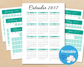 2017 Calendar, Printable Calendar, emerald, Printable Monthly Calendar, Calendar Pages, Calendar PDF, Instant Download, Simple Calendar