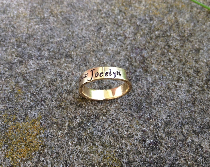 Custom SOLID 14k Yellow Gold Hand Stamped Ring - Many Font Choices - Stamped Inside OR Outside - Perfect 4mm x 1mm Weight - Hand Forged