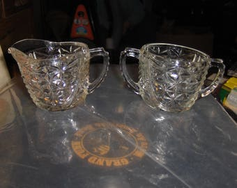 Thousand Line sugar bowl and creamer set