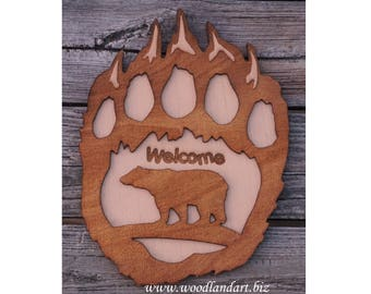 Bear Paw Decorative Laser Engraved Welcome Sign Wall Hanging